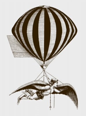 Póster Historic aerialist wearing wings while suspended from a balloon. Illustration after a woodcut from the 19th century. Editable in layers