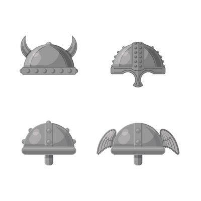 Historic Warrior Helmet Flat Vector Graphic Icon Set