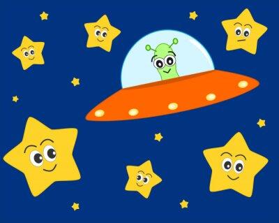 Póster historieta ufo extranjero lindo en el espacio con el dulce estrellas encantadoras ilustración vectorial para los niños