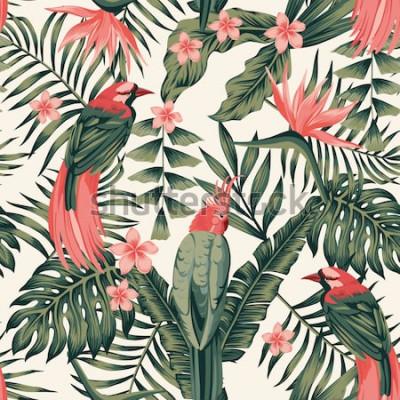 Póster Hojas tropicales, flores frangipani, aves del paraíso, loros colores abstractos sin fisuras vector realista imagen