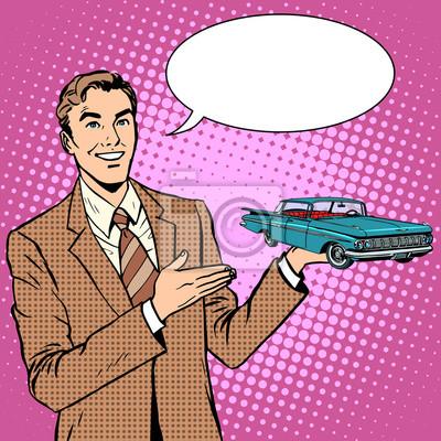 Hombre de negocios, coche, vendedor