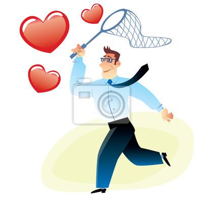 Hombre de negocios con una red atrapa volar corazón rojo