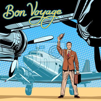 Hombre de negocios cumple o acompaña aviones de salida