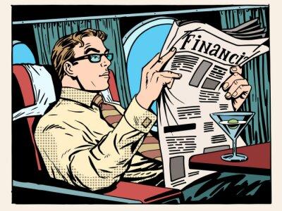Hombre de negocios de plano de clase lee la prensa