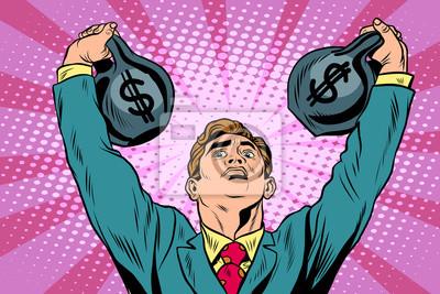Hombre de negocios hombre fuerte levanta dinero de pesos