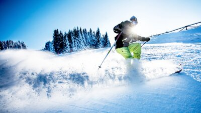 Póster Hombre, esquí, cuesta abajo