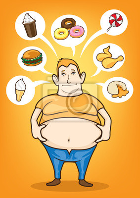 Hombre Gordo Comer Comida Chatarra Carteles Para La Pared