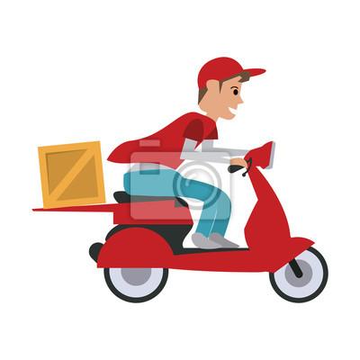 hombre haciendo la entrega en scooter icono de la imagen de diseño de ilustración vectorial
