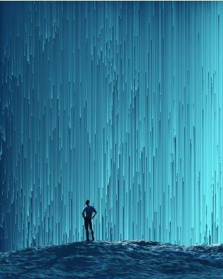 Póster Hombre mirando un flujo digital