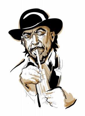 Póster Hombre que toca la trompeta.