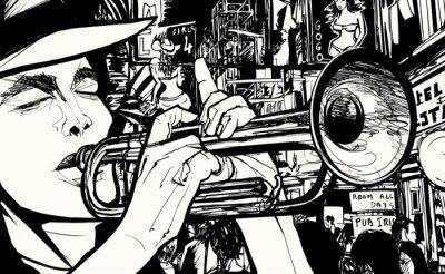Póster hombre tocando la trompeta en una zona de prostitución