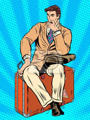 Hombre, viajero, sentado, maleta