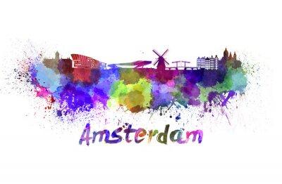 Póster Horizonte de Amsterdam en acuarela