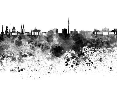 Póster Horizonte de Berlín en acuarela negra