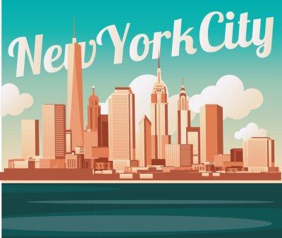 Póster Horizonte de la ciudad de Nueva York