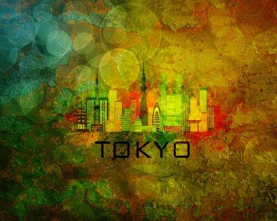 Póster Horizonte de la ciudad de Tokio en la ilustración de fondo de grunge