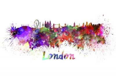 Póster Horizonte de Londres en acuarela