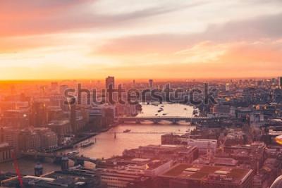 Póster Horizonte de Londres - Thames - Atardecer - Verano - Sky Garden - Naranja
