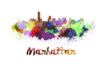 Póster Horizonte de Manhattan en acuarela