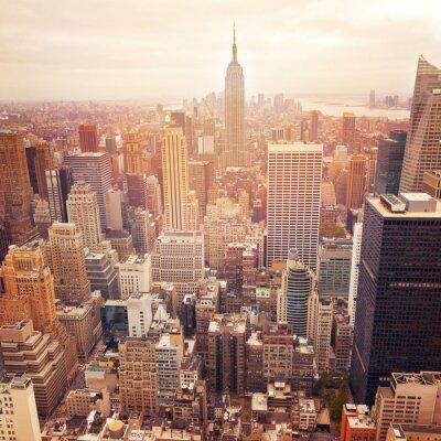 Póster Horizonte de Nueva York con efecto de filtro retro, Estados Unidos.