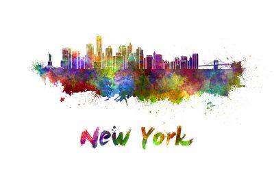 Póster Horizonte de Nueva York en acuarela