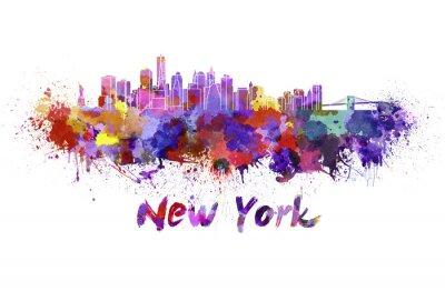 Póster Horizonte de Nueva York en la acuarela