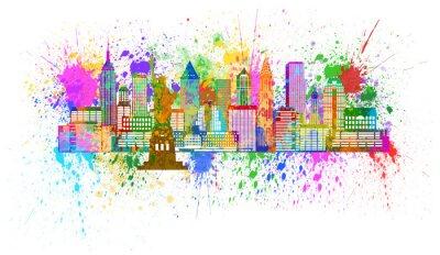 Póster Horizonte de Nueva York Ilustración salpicadura de la pintura