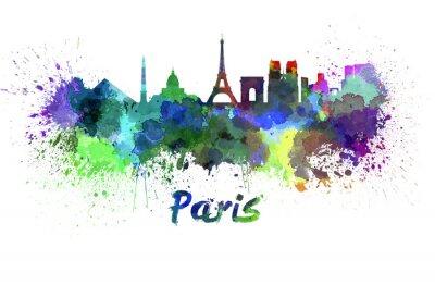 Póster Horizonte de París en acuarela