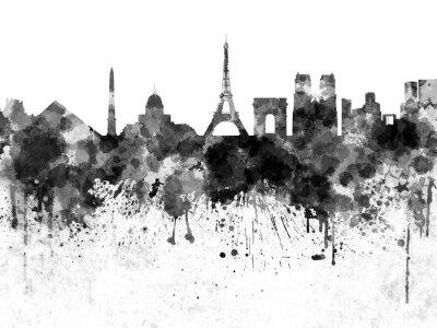 Póster Horizonte de París en acuarela negra