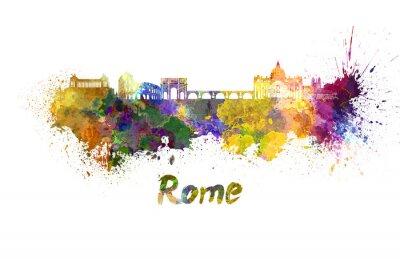 Póster Horizonte de Roma en acuarela