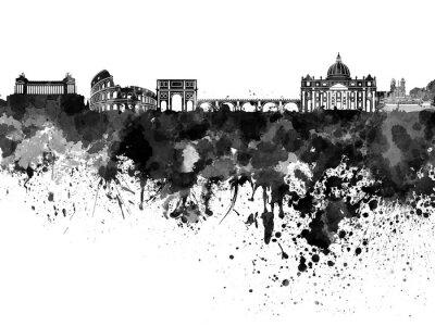 Póster Horizonte de Roma en acuarela negra