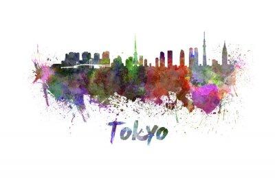 Póster Horizonte de Tokio en acuarela