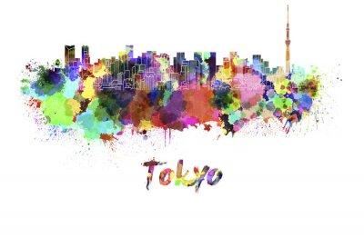 Póster Horizonte de Tokio V2 en acuarela