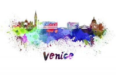 Póster Horizonte de Venecia en acuarela