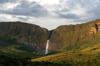 Huge waterfall (Casca d'anta) through the Serra da Canastra canyons in Minas Gerais state in Brasil