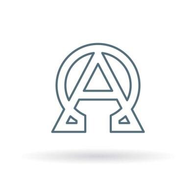 Póster Icono abstracto de alfa y omega. Signo de inicio y de fin. Símbolo griego alfa y omega. Logotipo alfa y omega. Icono de línea delgada sobre fondo blanco. Ilustración del vector.