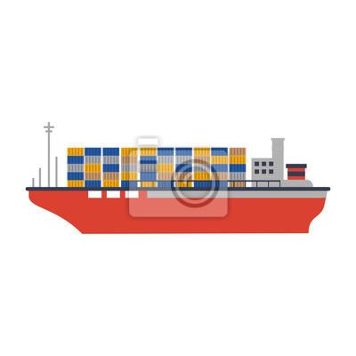 Icono de la nave de carga ilustración vectorial diseño de la ilustración