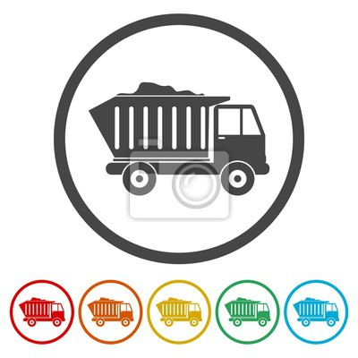 Icono de línea de camión para la web