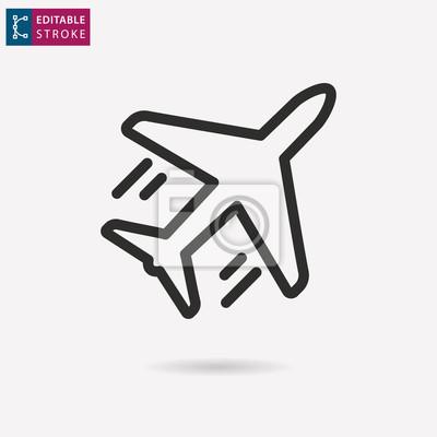 Icono de vector de línea de avión. Trazo editable