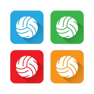 Póster Icono de Voleibol plano y largo de la sombra