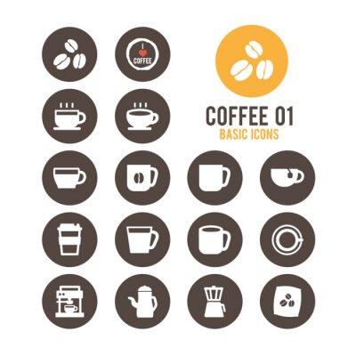 Póster Icono del café ajustado. Ilustración del vector.