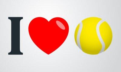Póster Icono plano amo el tenis de color de fondo degradado