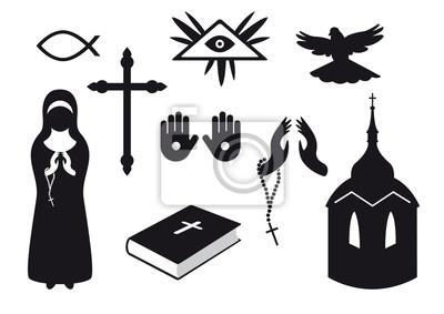 Iconos Cristianos En Blanco Y Negro Conjunto De Símbolos Cristianos