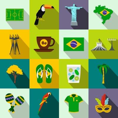 Póster Iconos de Brasil plana