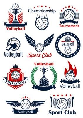 Póster Iconos de juego de voleibol, emblemas y símbolos