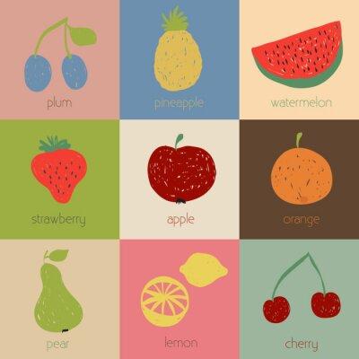 Póster Iconos de la fruta del Doodle en colores retro