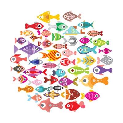 Póster Iconos de los pescados redondos