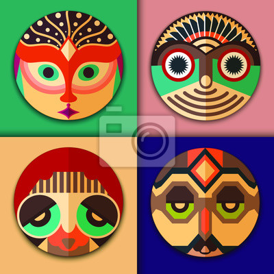 Póster Iconos de moda hipster en diseño de máscara étnica: hombre encantador con barba y plumas en la cabeza, hippie con gafas de sol de aviador, mujer elegante y hombre con adornos tribales. La gente establ