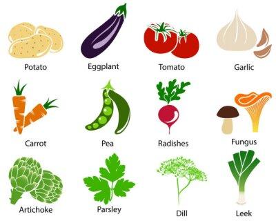 Póster Iconos de verduras con el título