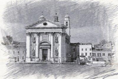 Póster Iglesia de Santa María del Rosario en Italia, Venecia. Bosquejo
